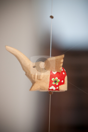 Flying elephant stock photo, Wood hand carved and painted flying elephant by Ian Genis