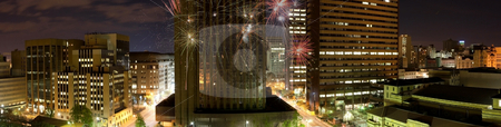 City scape stock photo, Lanscape of johannesburg city central with fireworks during a wedding celebration by Ian Genis