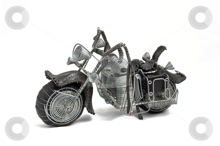 Cruiserleft stock photo, Hand made wire frame easy rider on white background left view by Ian Genis
