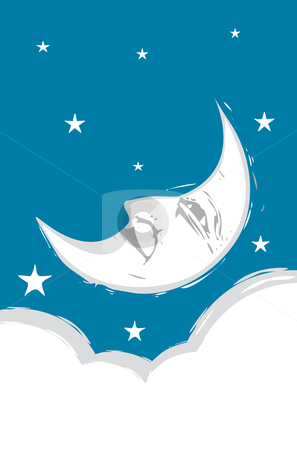 Crescent Moon face stock vector clipart, Crescent Moon Face with clouds and stars. by Jeffrey Thompson