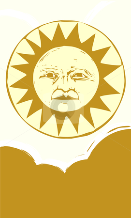 Sun Face #2 stock vector clipart, Sun face with clouds in a yellow sky. by Jeffrey Thompson
