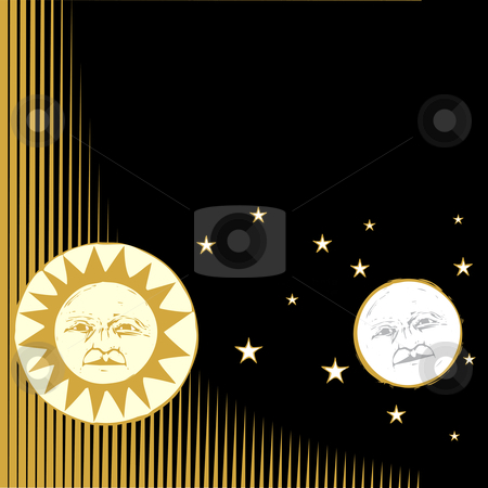 Sun and Moon #1 stock vector clipart, Sun and moon with faces and patterned background. by Jeffrey Thompson