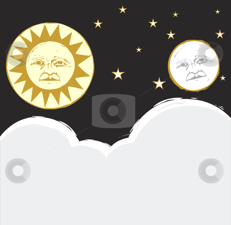 Sun and Moon #2 stock vector clipart, Sun and moon in the sky together with clouds and stars. by Jeffrey Thompson