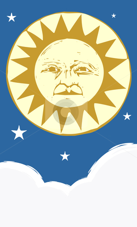 Sun Face #4 stock vector clipart, Sun face at night with clouds an stars. by Jeffrey Thompson