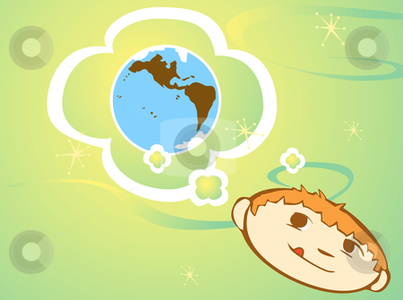 Thinking about the Earth stock vector clipart, Child is thinking about a green future. by Jeffrey Thompson
