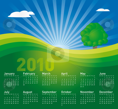 Landscape Calendar 2010 stock vector clipart, Landscape Calendar for year 2010. in vector format. by Germán Ariel Berra
