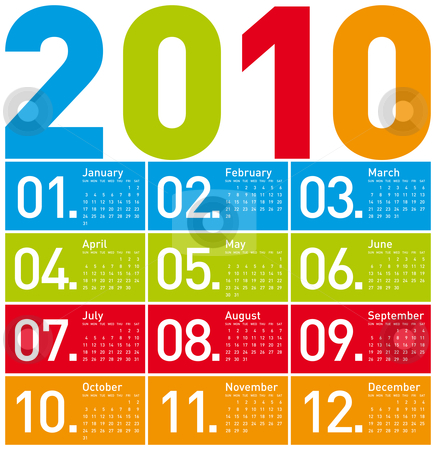 Colorful Calendar for 2010. stock vector clipart, Colorful Calendar for year 2010. in vector format. by Germán Ariel Berra