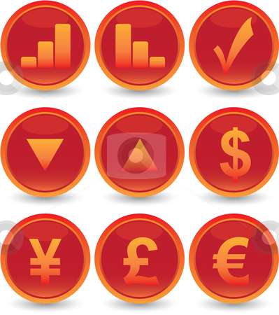 Financial web icons set stock vector clipart, Red financial web icons set by Vadim Pats