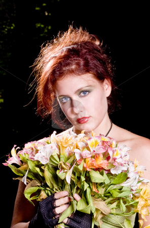 Red Head with Flowers stock photo, Red Head with Flowers by Jim DeLillo