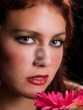 Girl with flower stock photo, Rachel by Jim DeLillo