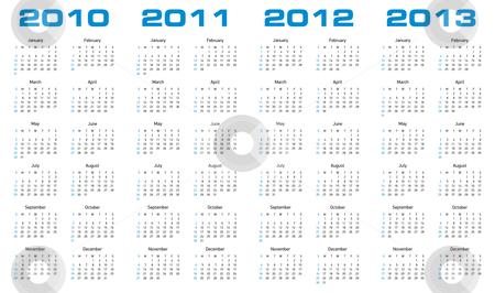 Calendar for 2010 through 2013 stock vector clipart, Simple calendar for years 2010, 2011, 2012 and 2013. by Germán Ariel Berra