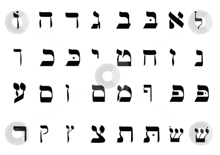 Hebrew Alphabet stock vector clipart, Hebrew Alphabet by John Teeter