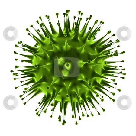 Virus closeup under microscope stock photo, Flu virus closeup isolated on white background by Peter Lecko