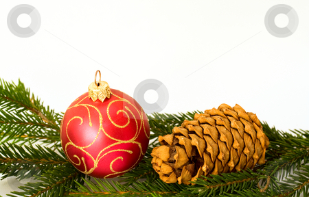 Red christmas ball and cone stock photo, Red christmas ball and cone on firtree branch by Sergey Plakhotin