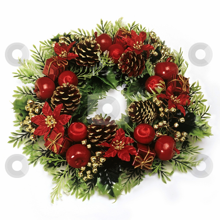 Christmas stock photo, Christmas wreath with green leaves, pine cones, apples, flowers and red balls on a white background. by Julio Viard