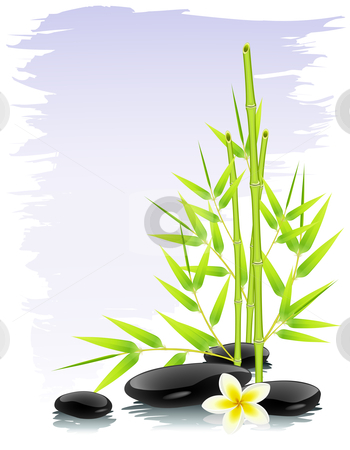 Zen composition stock vector clipart, Zen background with bamboo and black stones by Laurent Renault