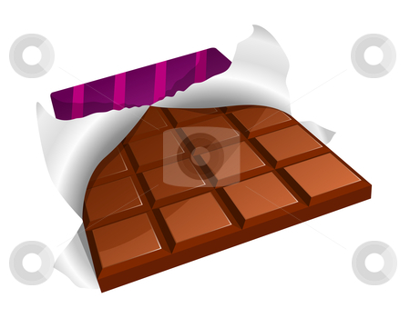 Chocolate bar stock vector clipart, Vector illustration of a chocolate bar with torn packing by Laurent Renault