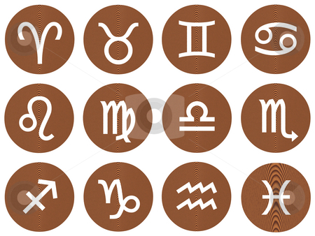 Wooden Framed Zodiac Signs stock photo, Wooden framed zodiac signs isolated in white by Georgios Kollidas