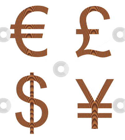 Wooden Currency Signs stock photo, Wooden currency signs isolated in white by Georgios Kollidas