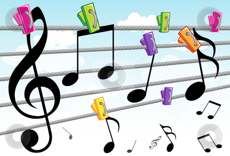 Music And Melody stock photo, Image of the dancing notes which move around to create beautiful melody. by Verapol Chaiyapin