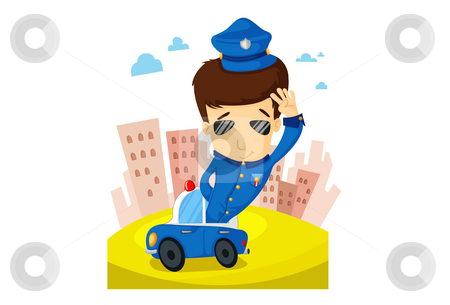The Police   stock photo, Illustration of police patrols a city in a police vehicle. by Verapol Chaiyapin