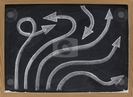 Line and arrow abstract on blackboard stock photo, Options or alternative solutions concept - line and arrow abstract on blackboard by Marek Uliasz