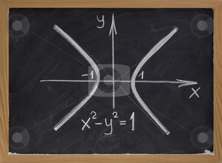 Hyperbola curve on blackboard stock photo, Rough white chalk drawing of hyperbola curve (two branches with east-west opening) on blackboard by Marek Uliasz