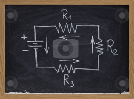 Electric circuit schematic on blackboard stock photo, Simple schematic of series electric circuit with four resistors and battery cell sketched with white chalk on blackboard by Marek Uliasz