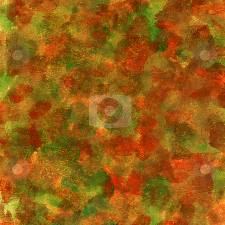 Red, green, orange patchy texture stock photo, Fall colors (red, green, orange, yellow)  watercolor painted abstract with scratch paper texture, self made by Marek Uliasz