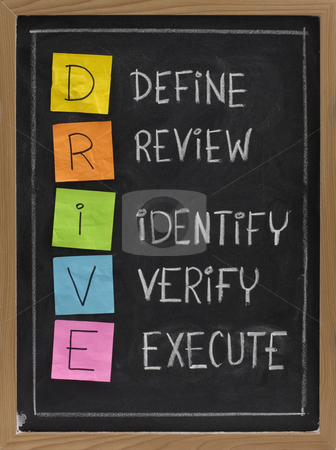 Define, Review, Identify, Verify, Execute stock photo, DRIVE (Define, Review, Identify, Verify, Execute) - acronym used in quality management, color sticky notes and white chalk handwriting on blackboard by Marek Uliasz