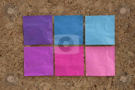Blue, pink, magenta reminder notes stock photo, Six blank crumpled sticky notes in blue, pink, magenta colors on a cork bulletin board by Marek Uliasz