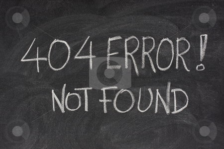Internet error 404 - file not found stock photo, Internet warning message, 404 error, handwritten with white chalk on blackboard by Marek Uliasz