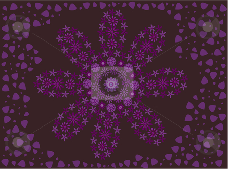 Purple flower made of flowers on petal background stock vector clipart, Vector illustration of a purple retro flower made of flowers surrounded by petals on a deep purple background by Rachel Gordon