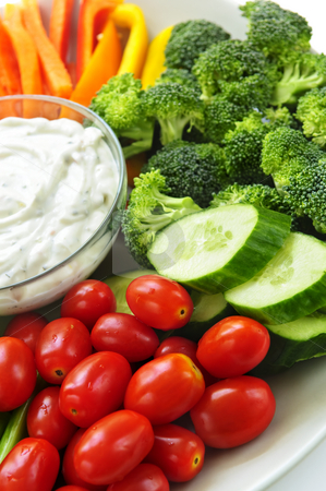 Vegetables and dip stock photo, Platter of assorted fresh vegetables with dip by Elena Elisseeva