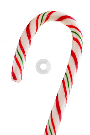 Candy cane stock photo, Closeup of striped candy cane isolated on white by Elena Elisseeva