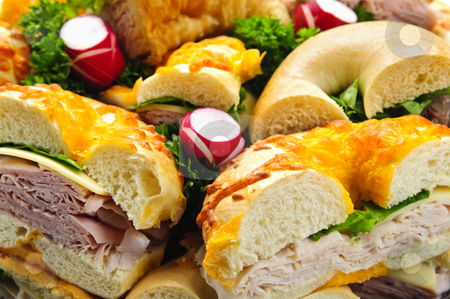 Sandwich tray stock photo, Assorted bagel sandwich platter with meat and vegetables by Elena Elisseeva
