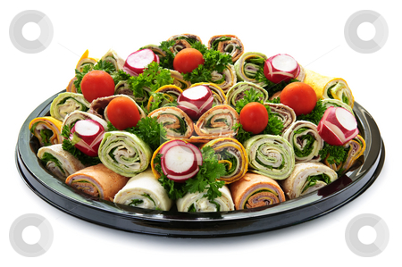 Sandwich tray stock photo, Isolated platter of assorted meat tortilla wraps by Elena Elisseeva