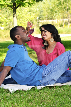 Happy couple having picnic in park stock photo, Young romantic couple having picnic in summer park by Elena Elisseeva