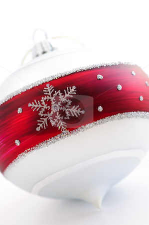 Christmas ornament stock photo, Closeup of red and white Christmas decoration by Elena Elisseeva