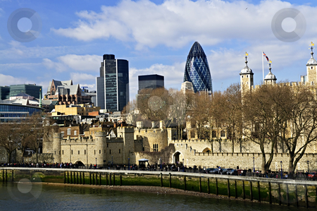 Tower of London skyline stock photo, Tower of London skyline  view from Thames river by Elena Elisseeva