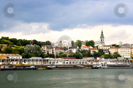 Belgrade cityscape on Danube stock photo, View of Belgrade city from Danube river by Elena Elisseeva