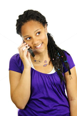Teen girl with mobile phone stock photo, Isolated portrait of teenage girl with cell phone by Elena Elisseeva