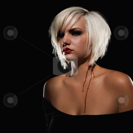 Young Adult Female Model with Bite Marks on Neck stock photo, A young, adult