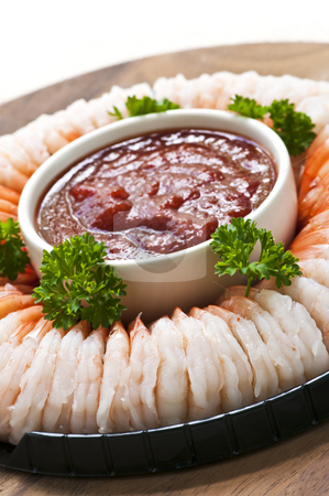 Shrimp ring stock photo, Shrimp ring appetizer platter with dipping sauce by Elena Elisseeva
