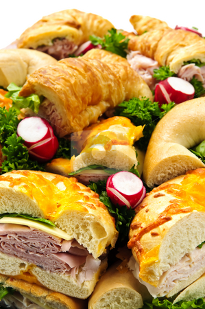 Sandwich tray stock photo, Assorted platter of sandwiches with meat and vegetables by Elena Elisseeva