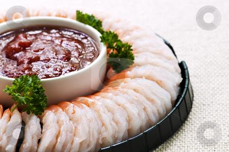Shrimp ring stock photo, Shrimp ring appetizer platter with dipping sauce by Elena Elisseeva