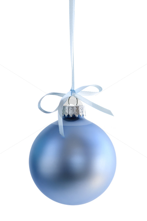 Christmas ornament stock photo, Blue Christmas decoration hanging isolated on white by Elena Elisseeva