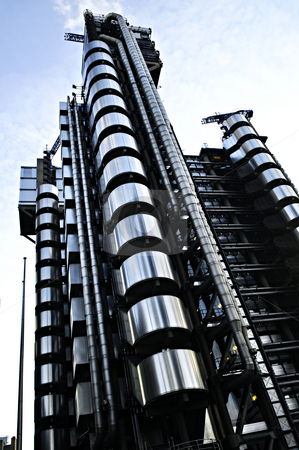 Lloyd's building in London stock photo, Futuristic steel Lloyd's building in London England by Elena Elisseeva