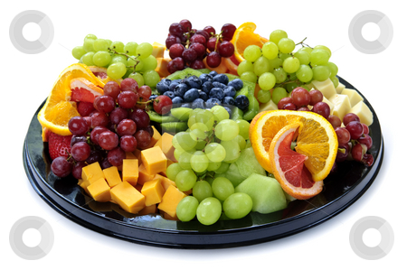 Fruit tray stock photo, Isolated platter of assorted fruit and cheese by Elena Elisseeva