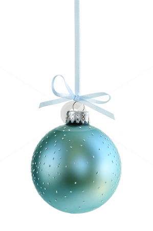 Christmas ornament stock photo, Speckled Christmas decoration hanging isolated on white by Elena Elisseeva
